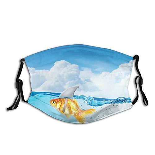 DPASIi Fashion 3D Face Protect impreso, bonito pez dorado con aleta de tiburón en la parte superior del agua falso cómic imagen de la naturaleza