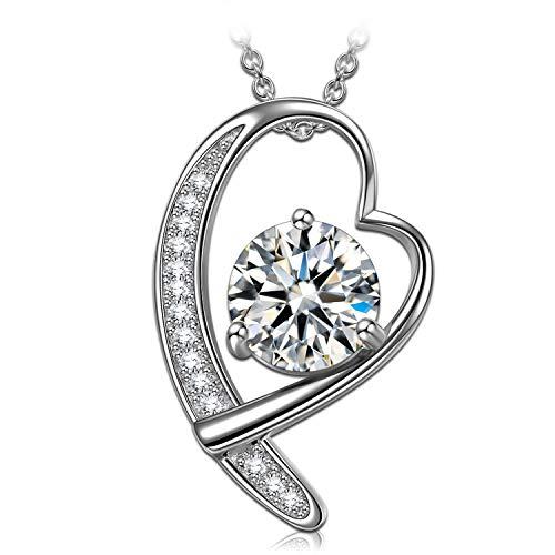 ANGEL NINA Valentinstagsgeschenk für Sie damen mama halskette herz kette damen halskette silber geburtstagsgeschenk für frauen schmuck jahrestag geschenk für freundin kette