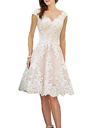 YASIOU Hochzeitskleid Damen V-Ausschnitt A Linie Kurz Spitze Tüll Standesamt Vintage Brautkleider Knielang Hochzeitskleider Champagner