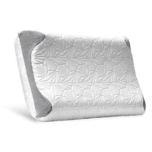 Bedsure Contour Pillow for Sleeping Memory Foam Cooling Cervical Pillow for Neck and Shoulder Pain Side Sleepers with Washable Cool & Warm Cover Standard Size