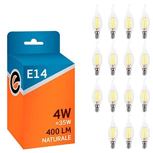 15 x Lampadine LED a filamento E14 4W Trasparente (400 lumen equivalenti a 35W) - Forma: Candela Fiamma - Luce Bianco Naturale 4000K - Fascio Luminoso 300°