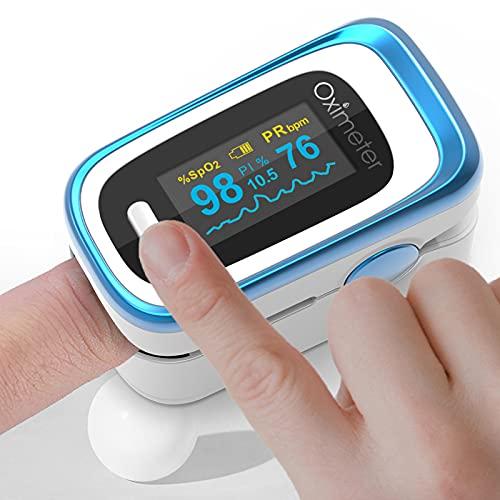 Mini Fingertip Pulse Oxi-M-Eter,Monitoramento do sono de PI de frequência respiratória,Monitor de saturação de oxigênio mede a taxa de pulso e os níveis de SPO2, com display OLED