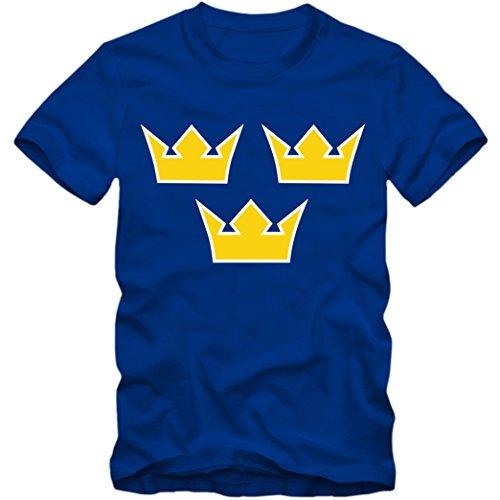 Herren T-Shirt Sverige Schweden Eishockey Icehockey TRE Kronor WM, Farbe:blau, Größe:XXL