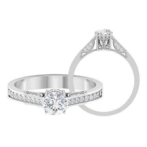 Anillo de compromiso con diamantes certificados de 3/4 quilates, solitario, corte redondo, 5 mm, anillo de aniversario de boda, oro grabado con cuentas vintage, 14K Oro blanco, Diamante, Size:EU 50
