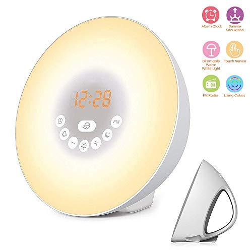 Zonsopgangwekker, wekker met 6 natuurlijke geluiden & 7 kleuren, FM-radio, Touch Control Nachtlampje 12/24H-modus
