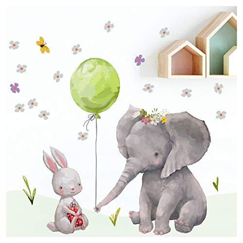 Little Deco Wandtattoo Babyzimmer Hase und Elefant I S - 52 x 40 cm (BxH) I Ballon Grün Kinderbilder Deko Kinderzimmer Mädchen Aufkleber Sticker DL232