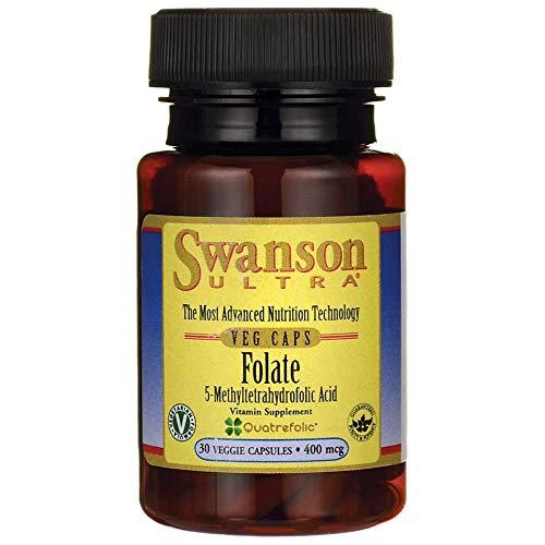 Swanson Folate Paquete de 1 x 30 Cápsulas - Ácido Fólico - Vitamina B9 - Ácido 5-Metiltetrahidrofólico