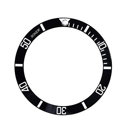 Sonew Reloj de Escritura Bisel de inserción para Seiko Fecha Mostrar de cerámica Reloj de muñeca Piezas de Repuesto(Black)