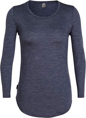 Icebreaker Solace Sweat avec Encolure Dégagée À Manches Longues Femme, Midnight Navy Heather Modèle S 2019 T-Shirt Manches Longues