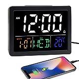 Digital Alarm Clock, with 5.5' Large LED Time Display, Adjustable Alarm Volume, 6 Level Brightness, Alarm Settings, USB Charger, Temperature Detect, Snooze, Clocks for Bedroom, Bedside, Desk, Black