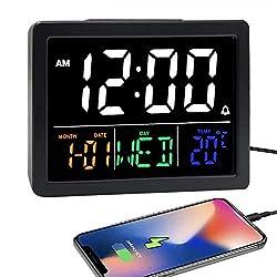 Digital Alarm Clock, with 5.5 Large LED Time Display, Adjustable Alarm Volume, 6 Level Brightness, Alarm Settings, USB Charger, Temperature Detect, Snooze, Clocks for Bedroom, Bedside, Desk, Black
