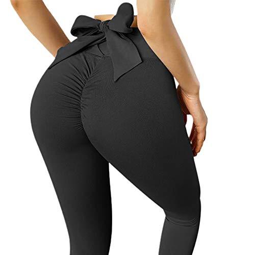 C-LARSS Scrunch Butt Lifting, Frauen High Taist Butt Lift Fitness Leggings, Einfarbige Schleife Skinny Tights Yoga Hose Schwarz M.