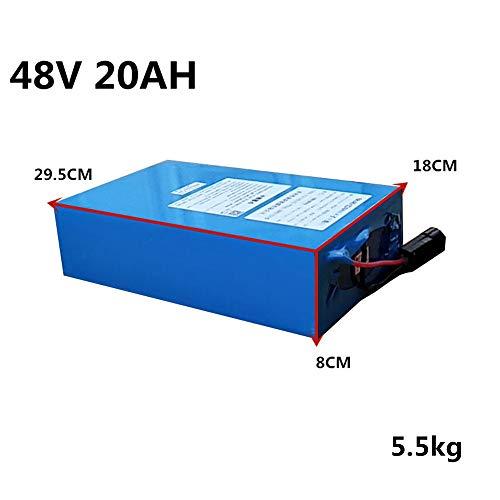 Alto Voltaje 2000W 48V 20AH 30AH 40AH 60AH Batería de bicicleta eléctrica 48V 20AH Batería de bicicleta eléctrica Batería de litio de 48 voltios con cargador rápido BMS (48V 20Ah (29.5cm×18cm×8cm)