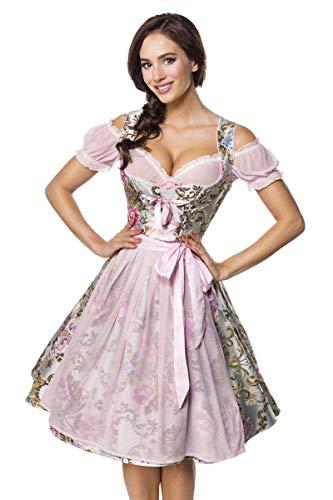 Midi Brokat Dirndl Set Tracht Trachtenkleid Kleid Wiesn Oktoberfest Bluse 36-46 Rosa/Gemustert XL (42)
