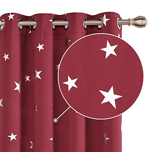 Deconovo Cortinas Opacas Telas Térmicas Aislantes Frio y Calor para Salon con Diseño de Estrllaa Plateadas 2 Piezas 168x138cm Rojo Oscuro