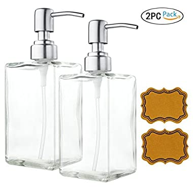 VCOO 2 Pack Soap Dispenser Bottle with Stainless Steel Pump, Refillable Rectangle Clear Glass Jar, Great for Essential Oils, Lotions, Liquid Soaps for Kitchen Bathroom(500ml/16oz)