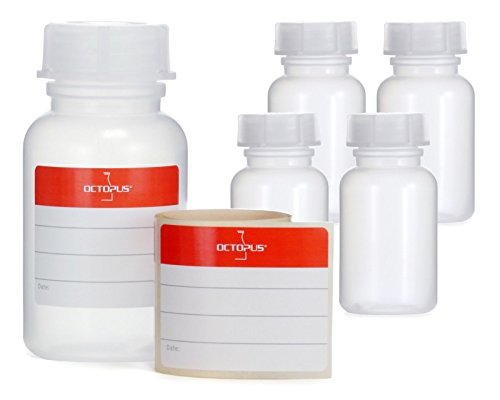 5x 5frascos botellas de LDPE con rosca de, química kalien Botella, laboratorio con tapa como recipiente de almacenamiento para laboratorio, cocina o Hobby, transparente, 5x 100 ml