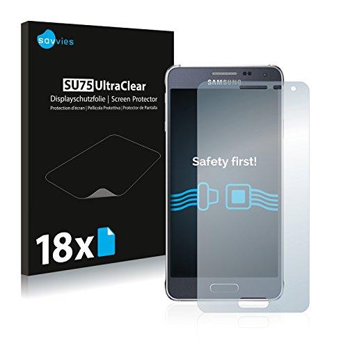 Savvies 18x Schutzfolie kompatibel mit Samsung Galaxy Alpha SM-G850F Bildschirmschutz-Folie Ultra-transparent