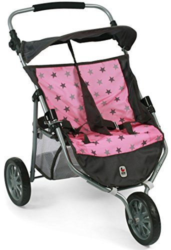Bayer Chic 2000 697 83 Jogger, Zwillings-Puppenwagen, Sternchen grau