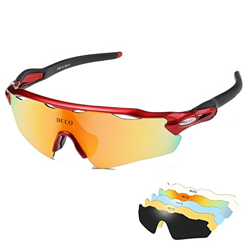 DUCO Polarized Sports Sunglasses UV400 Protection Cycling Glasses 5 Interchangeable Lenses 0028