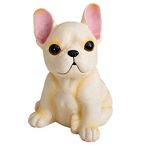 MonLiya Garden Decor High Emulation Resin Creative Cute French Bulldog Garden Statue Crafts Dog Lover Gift Sculpture Patio Lawn Courtyard Home Decoration Animal Figurine Indoor Outdoor (Cream Color)