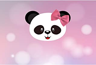 Baocicco 5x3ft Happy Birthday Backdrop for Photography Cute Panda Image Bow Knot Pink Bokeh Background Girl's Birthday Party Baby Shower Girl's Party Panda Theme Party Baby Girls Boys Portrait