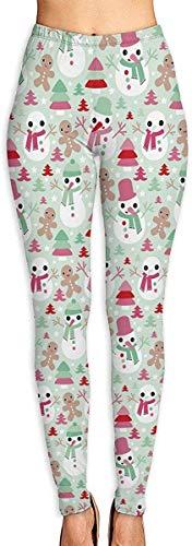 LVOE TTL Pantalon de Yoga Arbres de Noël Étoiles avec Bonhomme de Neige et Bonhomme en Pain d'épice Fitness Power Flex Pantalon de Yoga Leggings