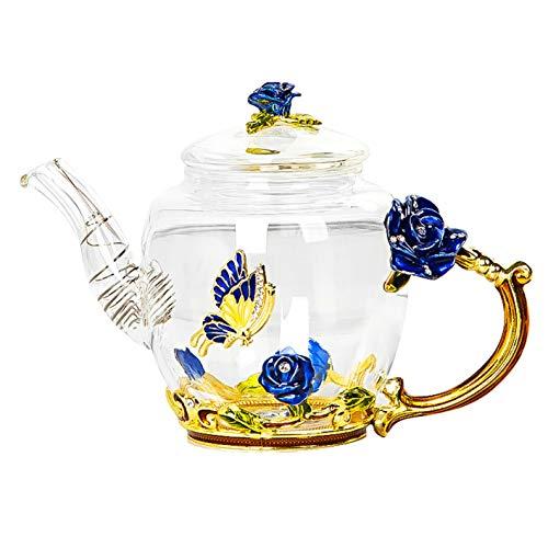 Iamagie Glass Teapot - 280 ml - France Enamel Rose Flower Butterfly Decoration Heat Resistant Glass Teapot Kettle with Strainer for Blooming Tea Loose Leaf Tea (Blue, Single Teapot)