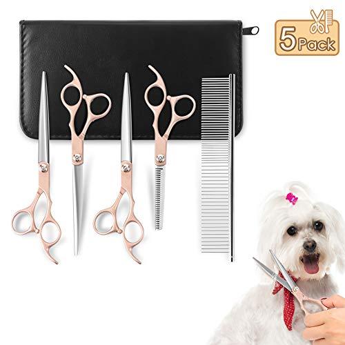 YOUTHINK Hundescheren Set, Professionelles Scheren-Set für die Hundepflege Pflegescherensatz für Haustiere Scharfes Trimmer-Set aus Edelstahl für Katzen Hunde mit 4 Scheren, 1 Kamm und einem Schmieröl