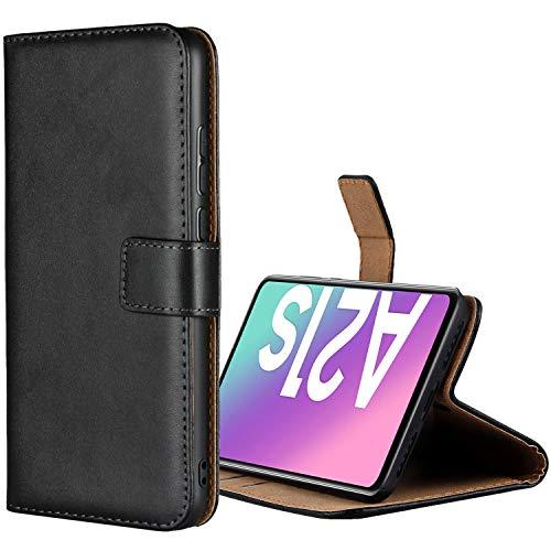 Aopan Samsung Galaxy A21s Hülle, Flip Echt Ledertasche Handyhülle Brieftasche Schutzhülle für Samsung Galaxy A21s, Schwarz