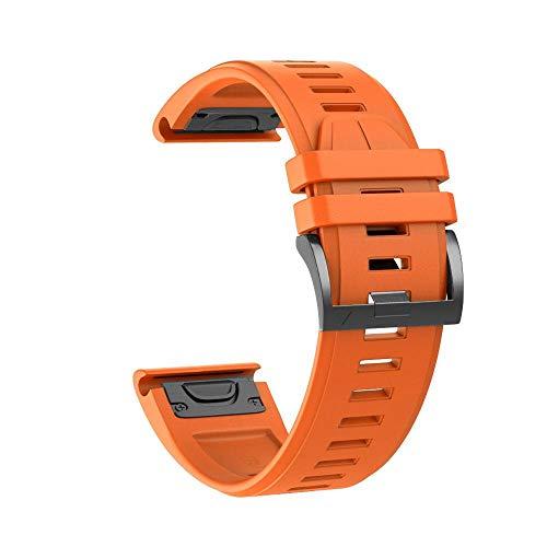 YOOSIDE Fenix 6X/Fenix 5X Silikon Armband, 26mm QuickFit Weich Wasserdicht Silikon Ersatzarmband Uhrenarmband für Garmin Fenix 5X/5X Plus,Fenix 6X Solar/Pro/Sapphire,Fenix 3,Tactix Delta(Orange)