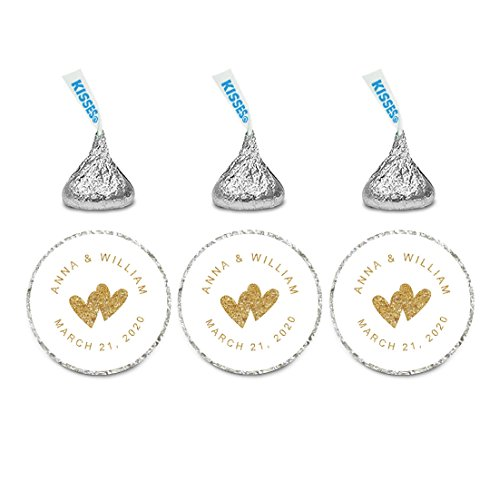 Andaz Press Personalized Wedding Chocolate Drop Labels, Round Bride Groom Names and Date, Gold Glittering, 240-Pack, Custom, For Hershey's Kisses Party Favors