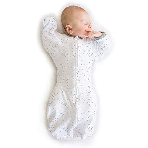 Amazing Baby by Swaddledesigns, Saquito de Algodón de Transición Para Bebé con Manoplas y Movimiento Libre Swaddle Sack with Arms Up, Confeti, Plata, Mediano 3-6 Meses
