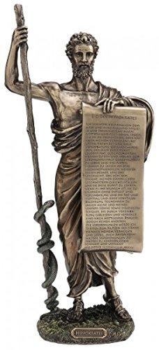 Figur des Hippokrates mit Schriftrolle deutscher Eid Skulptur Arzt