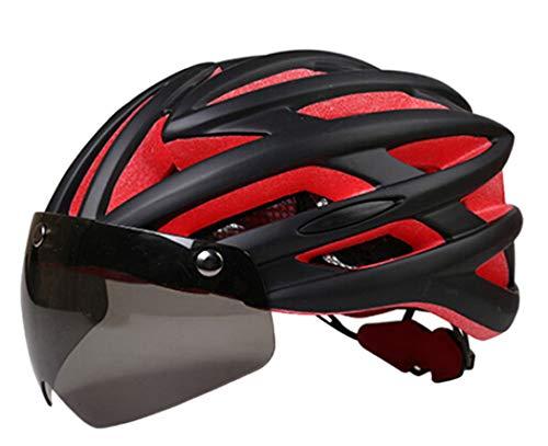 Bageek Casco de bicicleta protector y transpirable con gafas de sol integradas a prueba de viento para hombres y mujeres adultos