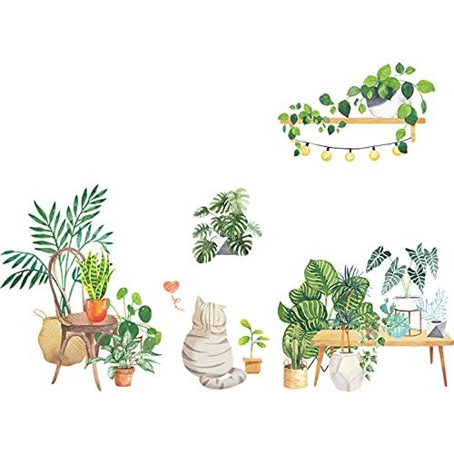 Alftek Adhesivo decorativo para pared, diseño de plantas verdes y gatos, 90 x 30 cm