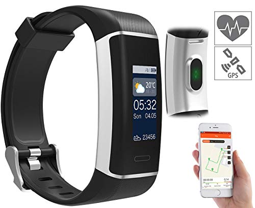 newgen medicals Smart Uhr: Fitness-GPS-Armband mit XL-Farb-Display & App für 6 Sportarten, IP67 (Fitnesstracker mit GPS)