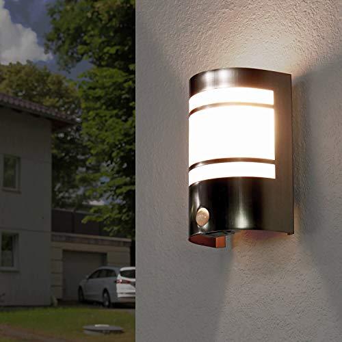 Außenleuchte mit Bewegungssensor Edelstahl IP44 E27 Wandlampe Bewegungsmelder außen Haus Tür Eingang