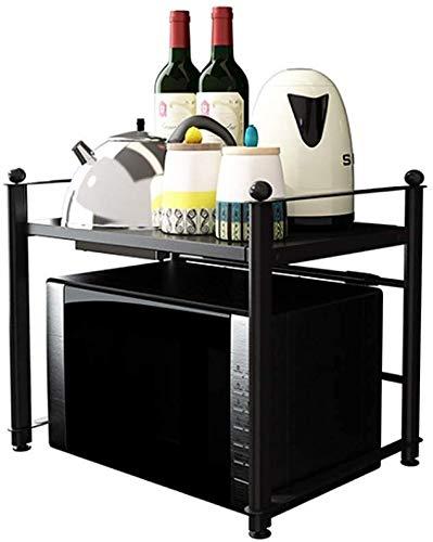Multifunción Cocina Microondas Mueble de cocina en rack de almacenamiento Organizador multifuncional de 2 niveles ahorrar espacio de acero inoxidable LINGZHIGAN
