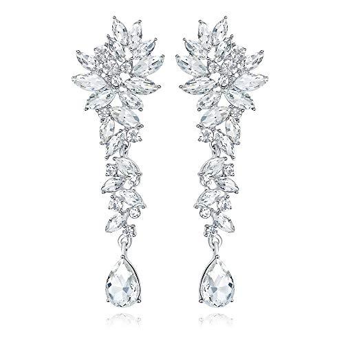 mecresh Bridal Wedding Teardrop Marquise Crystal Cluster Chandelier Dangle Earrings for Brides Bridesmaid