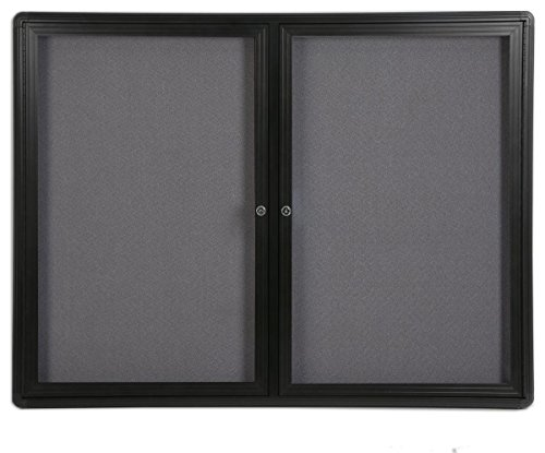 """4' x 3' Enclosed Bulletin Board with 2 Swing-Open Locking Doors, 48"""" x 36"""" Gray Fabric Notice Board for Indoor Use, Aluminum (Black Frame)"""