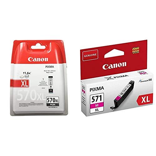 Canon PGI-570XL Cartucho de Tinta BK para Impresora de Inyeccion Pixma + CLI-571XL M Cartucho de Tinta para Impresora de Inyeccion Pixma