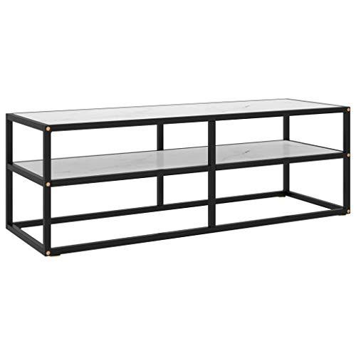 vidaXL TV Schrank Lowboard TV Möbel Tisch Board Sideboard Fernsehtisch Fernsehschrank HiFi-Schrank Schwarz mit Weißer Marmor-Optik Glas 120x40x40cm