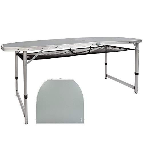 Aktive 52866 - Mesa plegable grande, con bandeja de malla, mesa portátil playa, camping, mesa plegable resistente, aluminio, forma octogonal, 149x80x71,5 cm, color gris