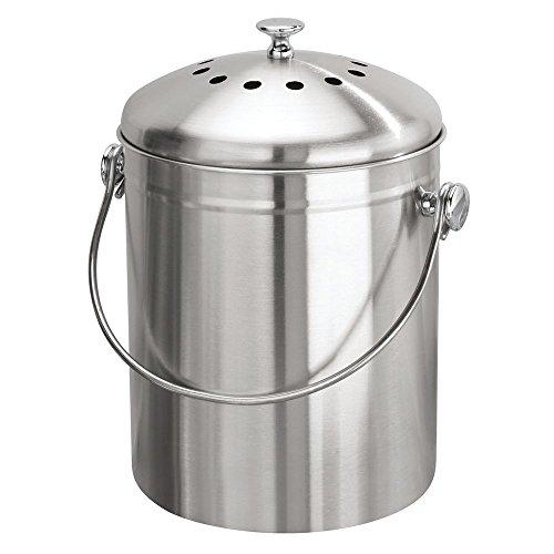 InterDesign Basic composteur de cuisine, bac à composte compact en acier inoxydable, poubelle composte transportable avec filtre à charbon, argenté