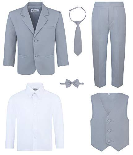 Boy's 6-Piece Suit Set - Includes Suit Jacket, Dress Pants, Matching Vest, White Dress Shirt, Neck Tie & Bow Tie - Gray, 2T