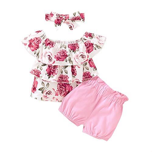 BOBORA Ensemble Bébé Fille, 3PCs Vêtements d'été Bébé Fille Enfants T-Shirt Fleurs + Short en Coton + Bandeau 1-4Ans