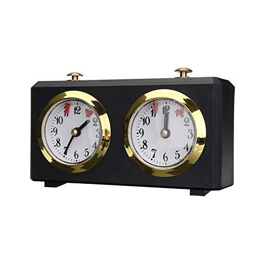 Cutfouwe International Checkers & Chess Board Game Accesorio WindUp Chess Clock Timer,Negro