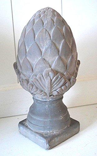 HKC Home Deco Pinie Keramik Pinienzapfen Skulptur grau ca. 25cm Deko Tischdeko Gartenskulptur Gartendekoration Deko Zapfen Garten Balkon Terrasse