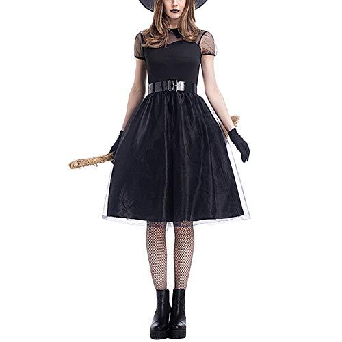 YAOTT Disfraz De Bruja para Adultos Cosplay Vestido De Fiesta Disfraces De Halloween Negro M